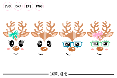 Reindeer Face SVG / DXF / EPS / PNG files