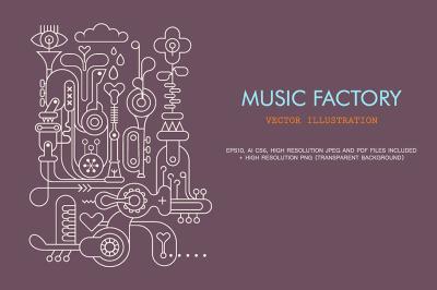 Music Factory line art