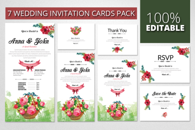 Floral Watercolor Wedding Invitation Cards