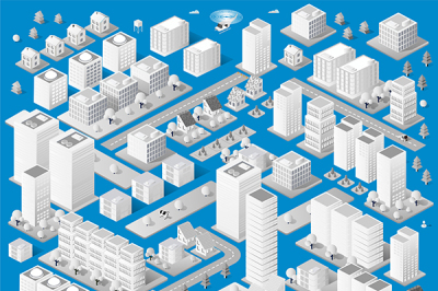 Isometric vector urban objects