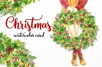 Christmas watercolor print
