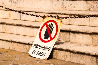 Forbidden sign on a staircase