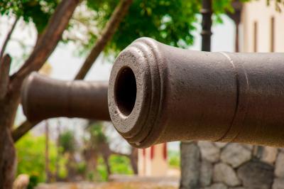 Antique cannon end detail