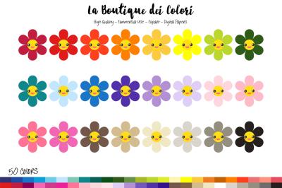 50 Rainbow Kawaii Flowers Clip Art
