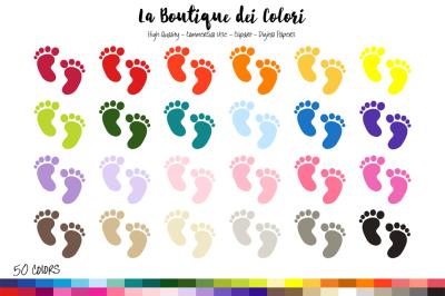 50 Rainbow Baby Footprints Clip art