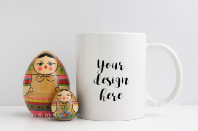 11oz Coffee mug mockup PSD smart cup rustic dolls russian babushka