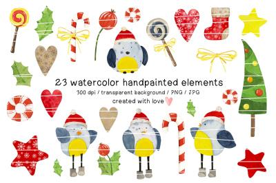 CHRISTMAS BIRDS watercolor clipart