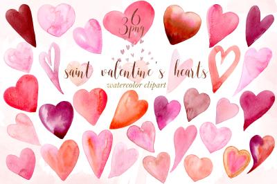 Saint valentin's hearts watercolor