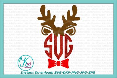 Reindeer monogram svg, Christmas boy monogram svg, Reindeer face with bow, svg, Reindeer boy svg, Reindeer svg file, kids Christmas svg, dxf