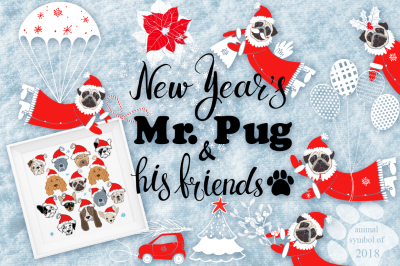 New Year's Mr. Pug and his friends.