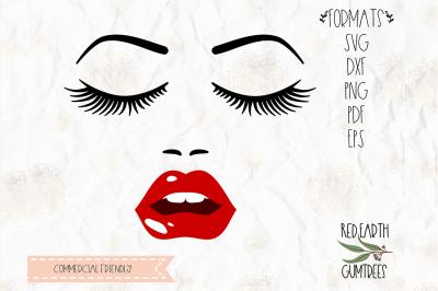 Face, eyelashes, lashes, lips SVG, DXF, PNG, PDF,EPS, Cricut, cameo