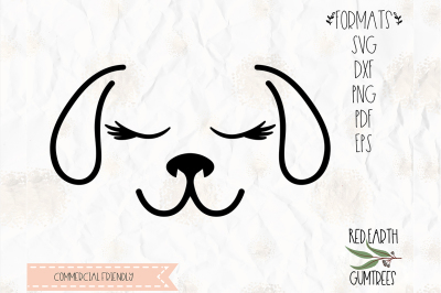 Dog with eyelashes cut file in SVG, DXF, PNG, PDF, EPS Cricut,cameo