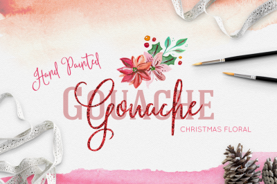 Gouache Christmas Floral Collection