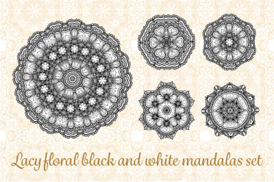 Lacy floral black and white mandalas set