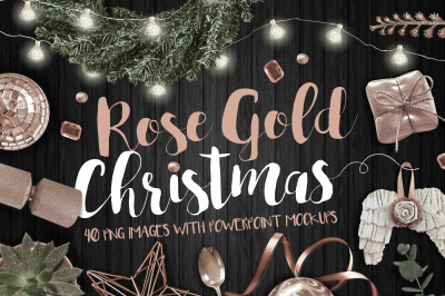 Rose Gold Christmas PNG bundle