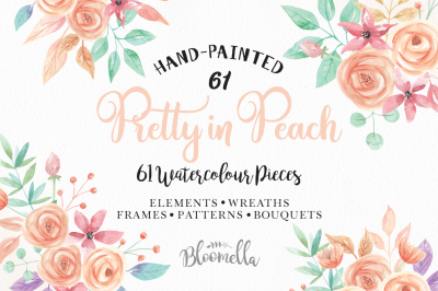 Pretty in Peach Watercolor Package HUGE 61 Collection Flowers and Leaves Wedding