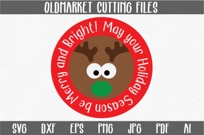 Reindeer SVG Cut File - Christmas SVG - DXF EPS PNG