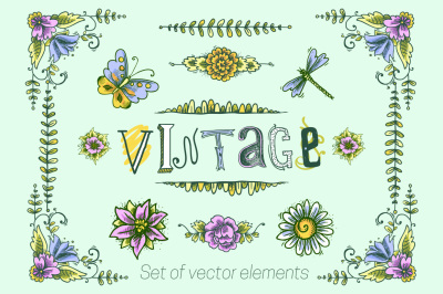 Vintage flowers sketch set