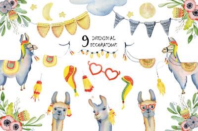 Cute llamas. Watercolor animals clipart