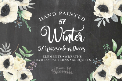 Winter Anemones Watercolor Flower Package - 57 Pieces Wreaths, Bouquets, Patterns & More!