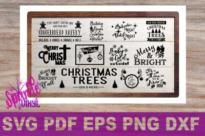 Svg Printable Christmas svg Sign Stencil Bundle Clipart
