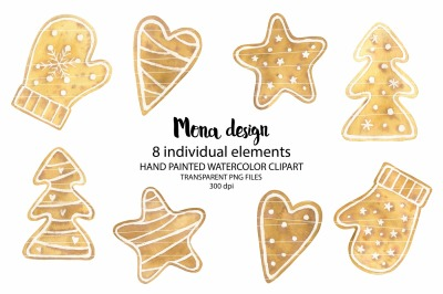 Watercolor Christmas cookies clipart