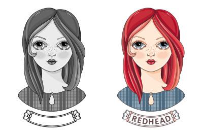 Girl. Avatar. Readhead. Colorful/ Black and white. Eps/Ai/Jpeg/Png