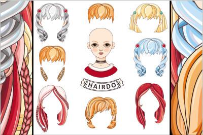 Hair Creator. Girl. Avatar. Long hair, short hair, curly hair salon hairstyles and trendy haircut vectorset isolated on white background. Eps/Ai/Jpeg/Png.