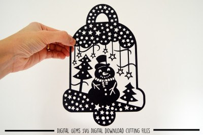 Snowman bell paper cut SVG / DXF / EPS files