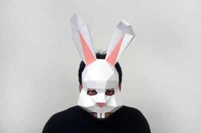 DIY Bunny rabbit mask - 3d papercraft