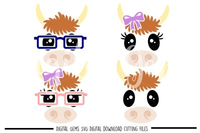 Cow faces SVG / DXF / EPS / PNG Files