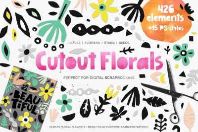 426 Cutout Floral Elements: PNG, EPS