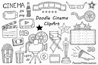 Doodle Cinema Clipart, Hand drawn cinema clip art