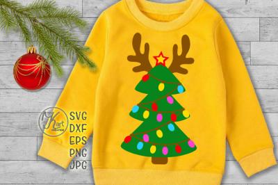 Reindeer svg, svg Christmas tree, Christmas lights svg, Antlers svg, reindeer monogram svg, kids Christmas svg, Christmas iron on, boy svg