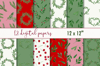 Christmas watercolor digital paper