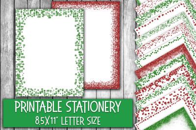 Christmas Stationery - Glitter Borders
