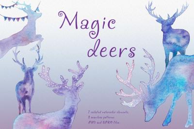 Magic deers. Watercolor illustration