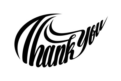 Thank You Lettering Swoosh Shape SVG