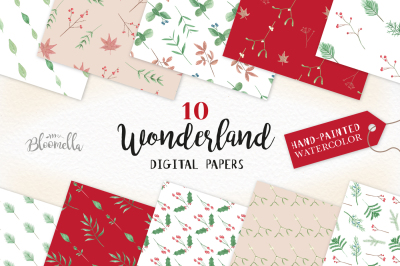 Wonderland Festive Christmas Seamless Patterns Xmas Digital Papers Floral Flowers PNG Files