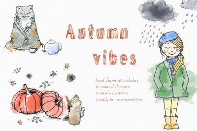 Autumn vibes. Hand drawn set