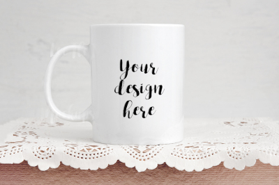 White coffee mug mockup rustic background feminine cup template