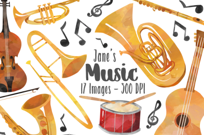 Watercolor Music Clipart