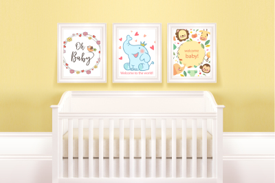 Set of 3 mockups, frame mapping, digital product - Baby Room