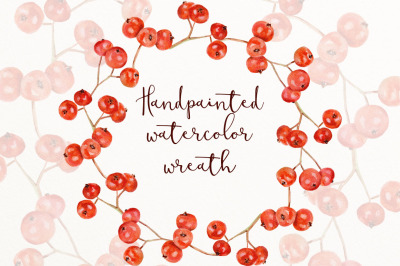 Red berry watercolor wreath