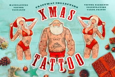 Cristmas vector collection: Xmas tattoo