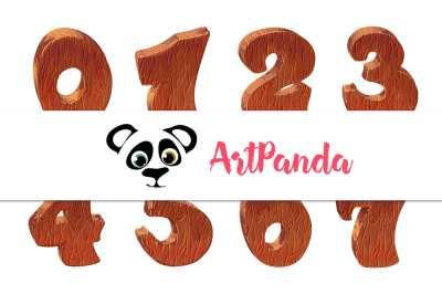 numbers clipart Wooden