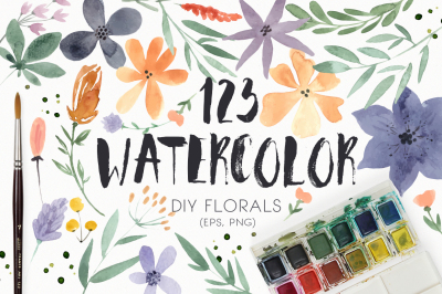123 DIY Watercolor Flowers (EPS,PNG)