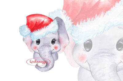 Elephant in Santa Hat