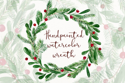 Christmas watercolor wreath clipart