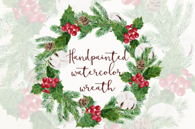 Holly holiday wreath clipart